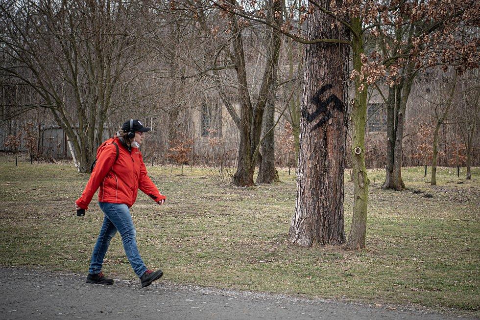Vandal nesprejoval hákové kříže v Bělském lese, 24. března 2021 v Ostravě.