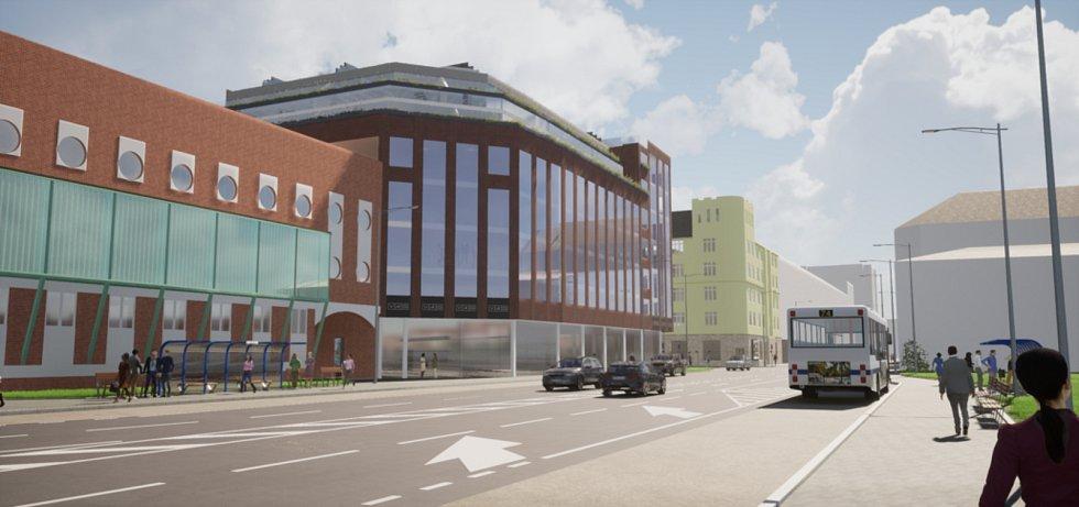 Vizualizace. Takto by měl vypadat nový polyfunkční dům Křižovatka v křižovatce ulic Českobratrské a Nádražní v centru Ostravy.
