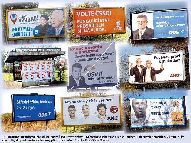 Volební billboardy v Ostravě.