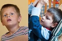 Život s mentálně postiženými dvojčaty Vašíčkem (na snímku vpravo) a Jarouškem je náročný. Klukům je šest let a ani jeden nemluví.