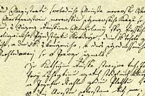 Část česky psaného rozsudku v případu Kateřiny Rajské (Archiv města Moravská Ostrava - stará registratura)