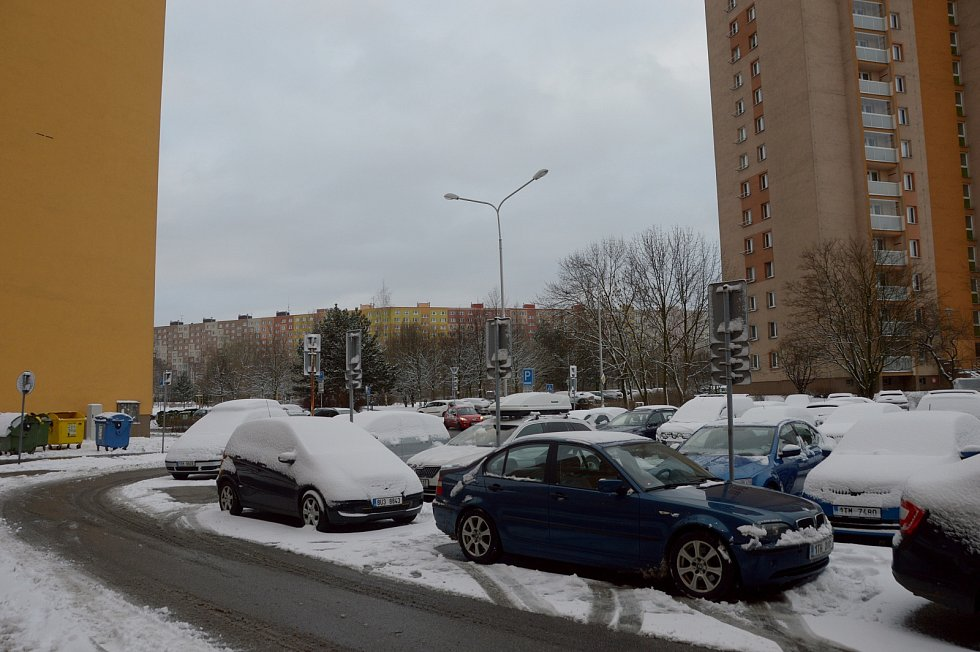 Ostrava, první sníh, leden 2021.