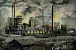 Na historické pohlednici je nejmodernější vítkovický hutní provoz v bývalém Rakousko-Uhersku.