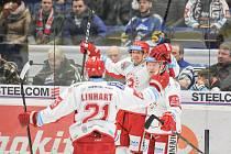 Utkání 43. kola hokejové extraligy: HC Vítkovice Ridera vs. HC Oceláři Třinec, 26. ledna 2018 v Ostravě. Radost (zleva) Linhart Tomas, Rákos Daniel a Adámek Marian.