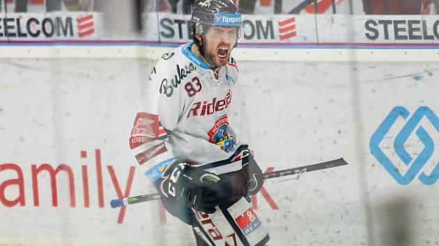 Čtvrtfinále play off hokejové extraligy - 3. zápas: HC Vítkovice Ridera - HC Oceláři Třinec, 24. března 2019 v Ostravě. Na snímku Šimon Stránský.