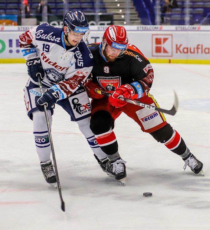 Utkání 39. kola hokejové extraligy: HC Vítkovice Ridera - Mountfield Hradec Králové, 24. ledna 2020 v Ostravě. Na snímku (zleva) Miroslav Indrák, Petr Šidlík.