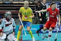 Mistrovství světa ve florbale žen v Ostravě, utkání Česko - Švédsko.