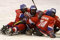Z utkání sledge hokejistů Česka a Koreje  na světovém šampionátu v Ostravě