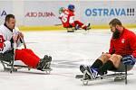 Tisková konference k Mistrovství světa v para hokeji 18. ledna 2019 v Ostravě. Na snímku zleva para hokejista Frolík a Jan Výtisk z Vítkovic.