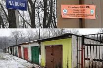 Zapečetěná garáž ve Slezské Ostravě, ve které policie našla těla zavražděných manželů.
