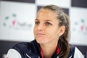 Karolína Plíšková, tisková konference českých tenistek před utkáním 1. kola Světové skupiny Fed Cupu proti Rumunsku, 6. února 2019 v Ostravě.