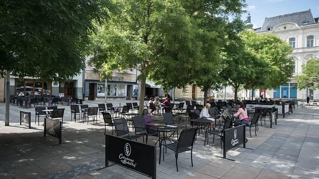 Masarykovo náměstí, 12. července 2019 v Ostravě. Na snímku Cukrárna u Babičky.