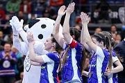 Superfinále play off extraligy žen - 1. SC TEMPISH Vítkovice - FAT PIPE Florbal Chodov, 14. dubna 2019 v Ostravě. Na snímku radost Vítkovic.