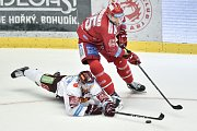 Utkání 9. kola hokejové extraligy: HC Oceláři Třinec - HC Sparta Praha, 12. října 2018 v Třinci. Na snímku (dole) Zach Sill a Tomáš Marcinko.