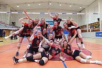 Takhle ostravské volejbalistky jásaly po domácím vítězství v minulém kole extraligy nad Olomoucí 3:2. Stejnou radost měly i ve čtvrtek z výhry 3:0 v Přerově.