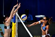 Turnaj Světového okruhu v plážovém volejbalu, 21. června 2018 v Ostravě. Na snímku (vpravo) Martina Bonnerová.