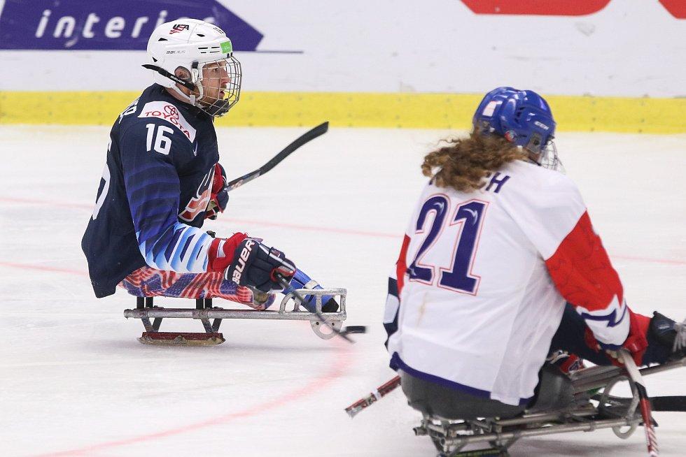 Mistrovství světa v para hokeji 2019, 3. května 2019 v Ostravě. Na snímku (zleva) Farmer Declan (USA), Kvoch Tomas (CZE).