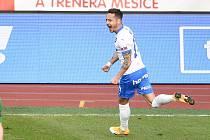 Utkání 23. kola první fotbalové ligy: FC Baník Ostrava – 1. FK Příbram 5:0, 13. března 2021 v Ostravě. Daniel Holzer z Ostravy oslavuje gól. Dočkal se ho po více než dvou letech.