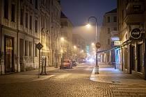 Skoro prázdná stodolní ulice, 31. prosince 2020 v Ostravě.