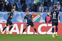 Utkání 11. kola první fotbalové ligy: FC Baník Ostrava - FC Slovácko, 16. října 2021 v Ostravě. (střed) Lukáš Sadílek ze Slovácka.