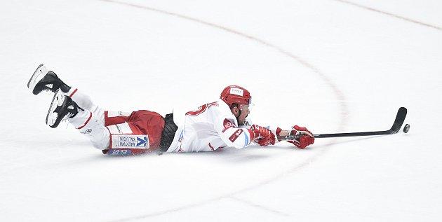 Čtvrtfinále play off hokejové extraligy - 1.zápas: HC Oceláři Třinec - HC Vítkovice Ridera, 20.března 2019vTřinci. Na snímku Vladimír Dravecký.