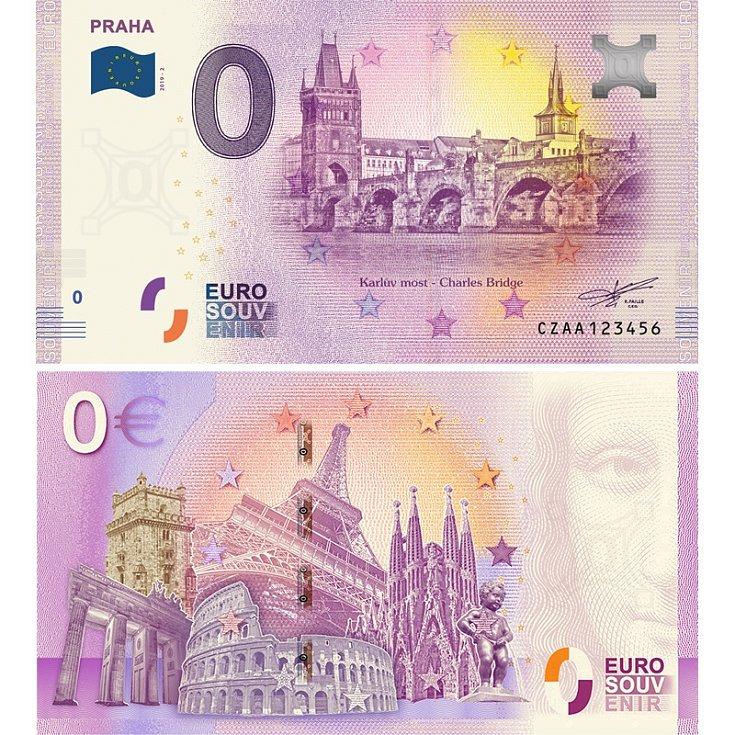 PRAHA - Karlův most, suvenýrová eurobankovka, vydání roku 2019.