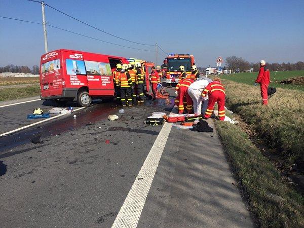 Nehoda na silnici 58uStaré Vsi nad Ondřejnicí.