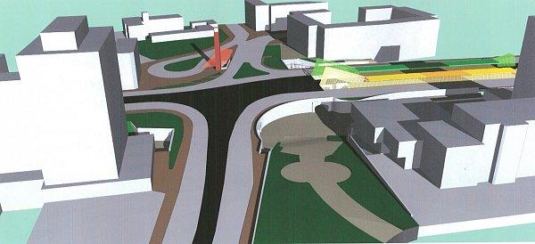 Vizualizace. Kdispozici jsou dvě varianty řešení tohoto dopravního uzlu, zatím však pouze ve formě studií.