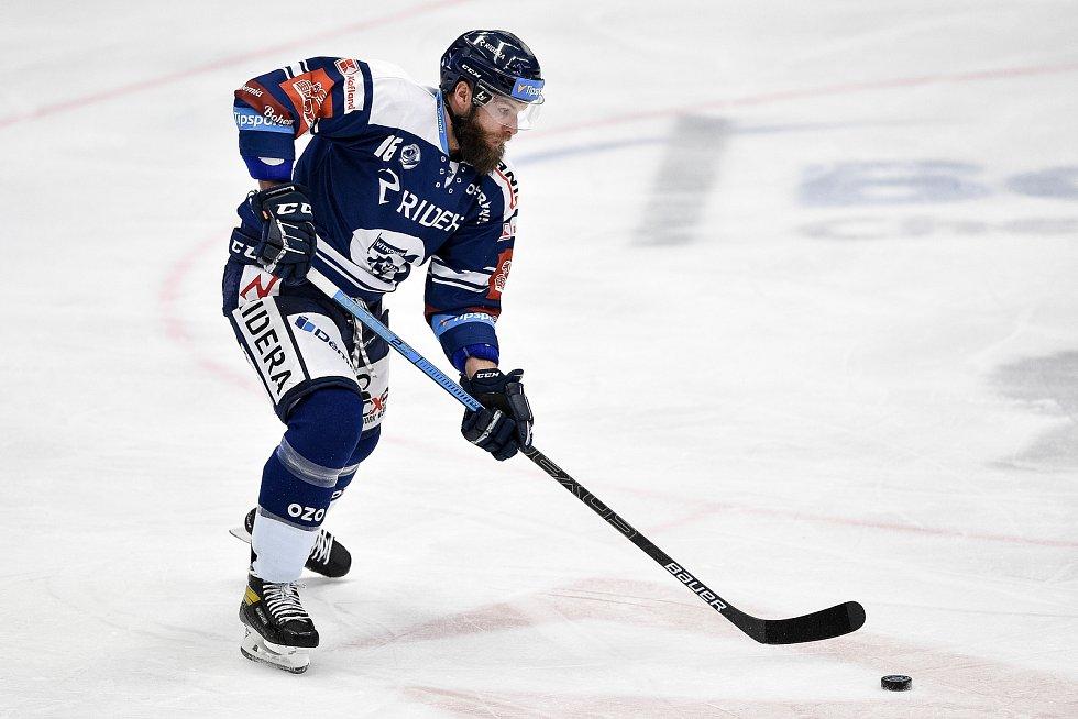 Utkání 24. kola hokejové extraligy: HC Vítkovice Ridera - HC Dynamo Pardubice, 4. prosince 2020 v Ostravě. Adam Polášek z Vítkovic.