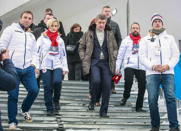 Zahájení olympijského festivalu vOstravar Aréně vOstravě se zúčastnil také Andrej Babiš, na snímku vdoprovodu primátora Ostravy Tomáše Macury.