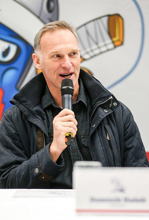Tisková konference k Mistrovství světa v para hokeji 18. ledna 2019 v Ostravě. Na snímku Dominik Hašek ambasador MS.
