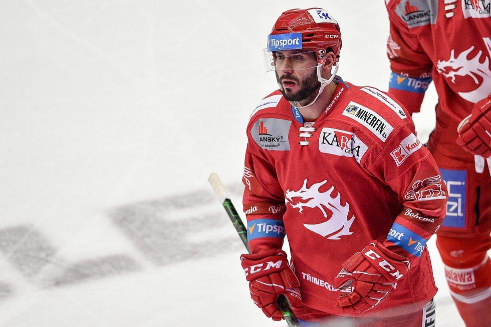 Utkání 3. kola hokejové extraligy: HC Oceláři Třinec - HC Vítkovice Ridera, 15. prosince 2020 v Třinci. Erik Hrňa z Třince.