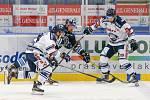 Utkání 3. kola hokejové extraligy: HC Vítkovice Ridera - Bílí Tygři Liberec, 20. září 2019 v Ostravě. Zleva Jan Schleiss z Vítkovic a Peter Trška z Vítkovic.