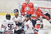 Utkání 40. kola hokejové extraligy: HC Vítkovice Ridera - HC Dynamo Pardubice, 9. ledna 2019 v Ostravě. Na snímku (zleva) Jakub Lev, Radoslav Tybor a Ondřej Roman.