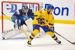 Mistrovství světa hokejistů do 20 let, zápas o 3. místo: Švédsko - Finsko, 5. ledna 2020 v Ostravě. Na snímku (zleva) brankář Švédska Hugo Alnefelt (SWE), Nils Hoglander (SWE).