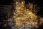Panorama noční Ostravy, 12. března 2021, ulice Českobratrská.