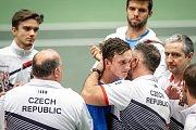 Utkání kvalifikace Davisova poháru Česká republika - Nizozemsko, dvouhra, 2. února 2019 v Ostravě. Na snímku team česka.