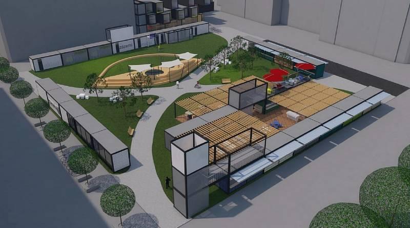 """Vizualizace relaxační a gastronomické zóny na """"novém"""" Masarykově náměstí v Ostravě tvořená z modulárních gastrokontejnerů."""