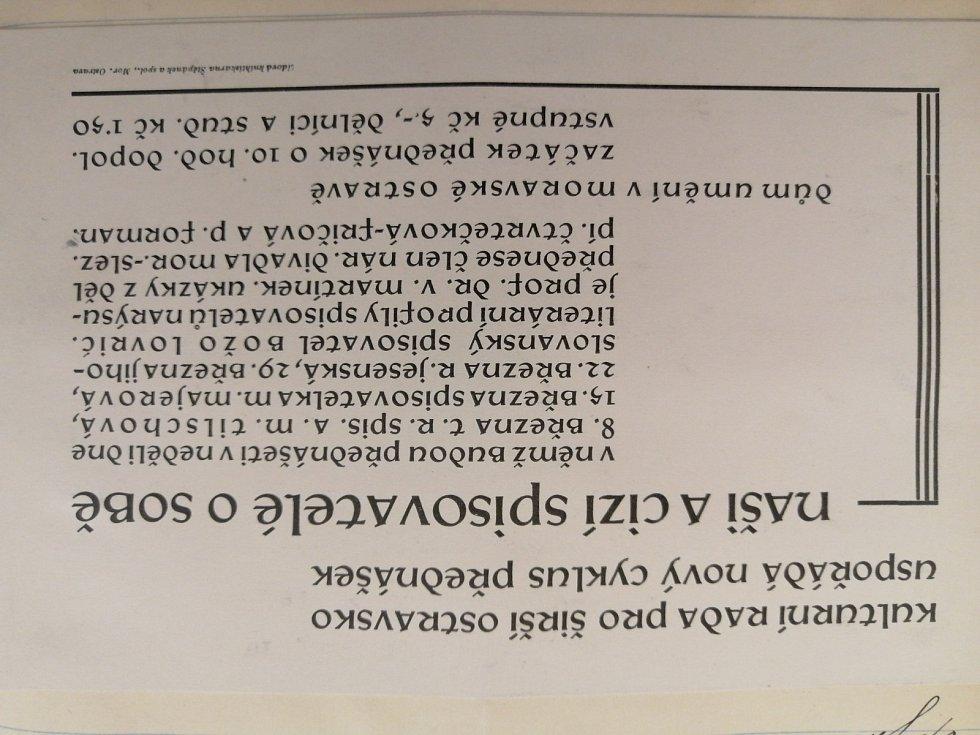 Pozvánka na sérii přednášek pořádaných Kulturní radou pro širší Ostravsko v roce 1931.