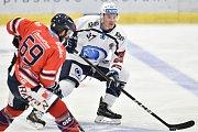 Utkání 4. kola hokejové extraligy: HC Vítkovice Ridera - HC Škoda Plzeň, 23. září 2018 v Ostravě. Na snímku (vlevo) Szturc Roman a Allen Conor Jay.