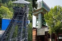 Menší těžní věž jámy Louis (vlevo) a kladivová těžní věž vtažné jámy na Jeremenku, kulturní památka.