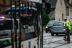Nehoda autobusu s tramvaji ve Vítkovicích.
