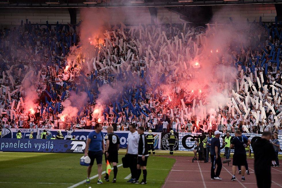 Utkání 26. kola první fotbalové ligy: Baník Ostrava - Sparta Praha, 28. dubna 2018 v Ostravě. Fanoušci Baníku.