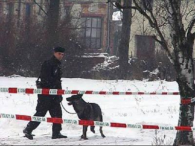 Místo, kde v byl nalezen v Klimkovicích zavražděný muž. Kriminalistům pomáhá i policejní pes.