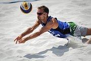 Turnaj Světového okruhu v plážovém volejbalu - zápasy ve skupinách, 21. června 2018 v Ostravě. Na snímku Jan Dumek.
