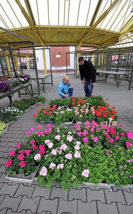 Tržnice v centru Ostravy, duben 2015