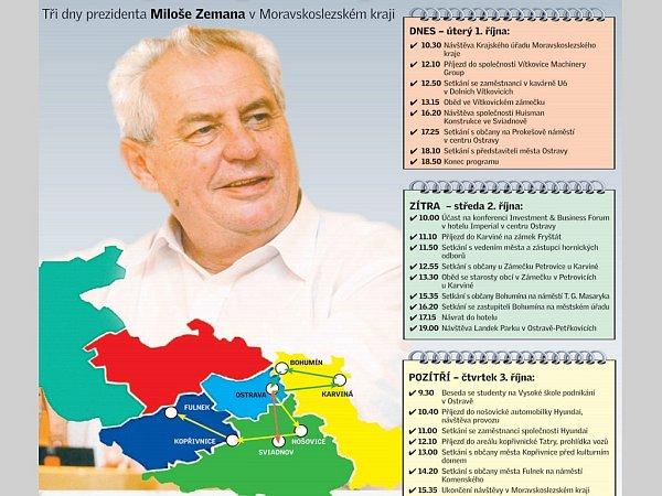 Miloše Zemana čeká třídenní návštěva Moravskoslezského kraje.