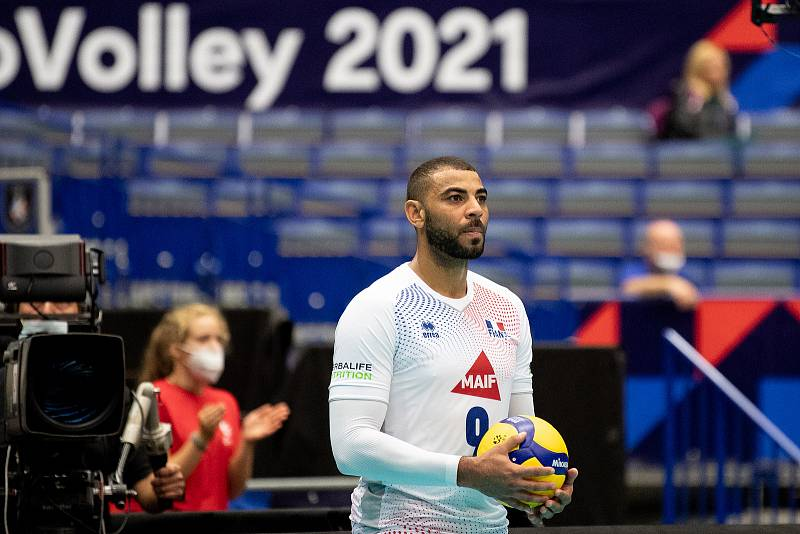 Utkání mistrovství Evropy volejbalistů - osmifinále: ČR - Francie, 13. září 2021 v Ostravě. Earvin Ngapeth z Francie.