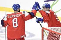 Mistrovství světa hokejistů do 20 let, skupina B: ČR - Rusko, 26. prosince 2019 v Ostravě. Na snímku (zleva) Libor Zabransky a Jan Mysak.