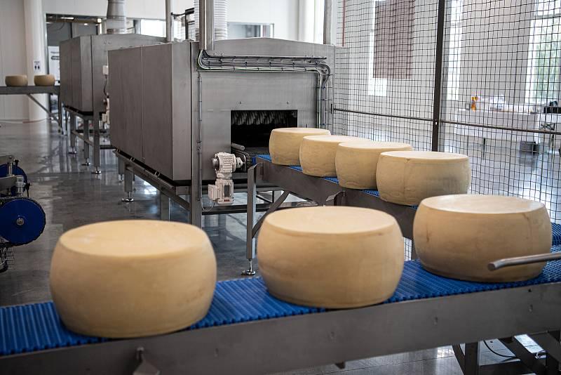 Robotizovaný sklad sklad sýrů společnosti Gran Moravia, 12. srpna 2021 v Cogollo del Cengio v provincii Vicenza, Benátsko, Itálie. Čistička bochníků.